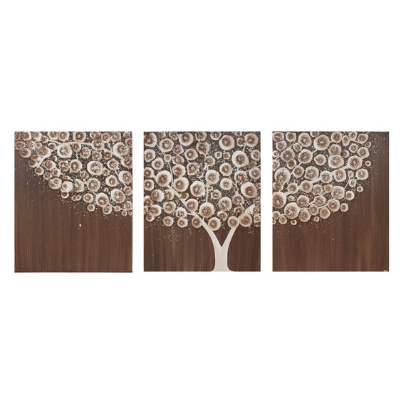 Wall Art Canvas Tree Painting Acrylic - Neutral Brown Decor - Extra Large 62x24 - MADE TO ORDER