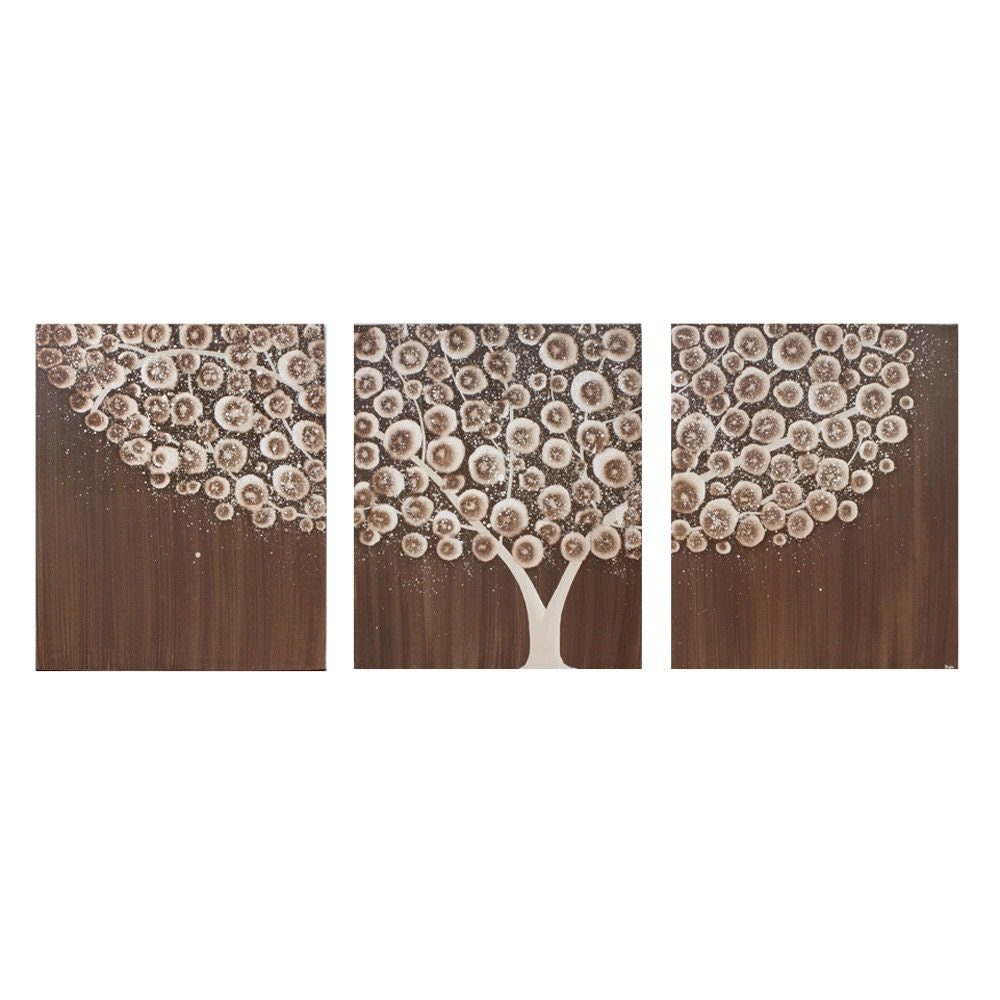 Wall Art Canvas Brown : Wall art canvas tree painting acrylic neutral brown by