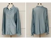 Womens Silky Powder Blue Blouse, Vintage, size XL