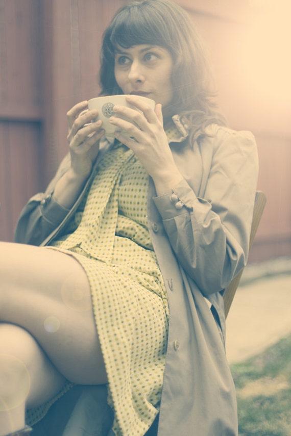 60s Yellow Mod Dress, Vintage, size M/L