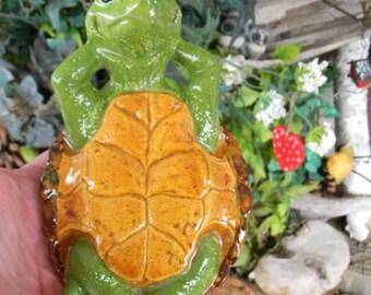 Turtle Garden Statue BOX TURTLE  Glazed pottery shell - ceramic