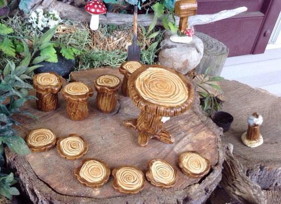 Fairy Garden Furniture Tree Stump Table 4 Chairs