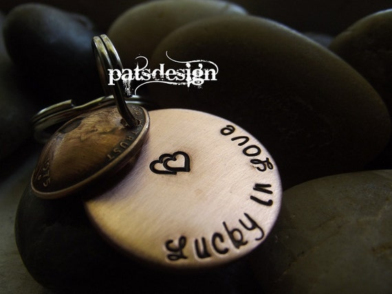 Lucky in Love Keychain Locket 1 penny,  hidden message underneath