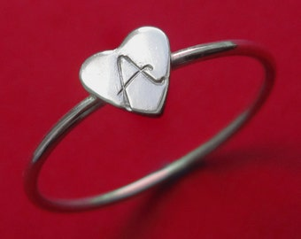 Custom Tiny Sterling Silver Initial Heart Stacking Ring