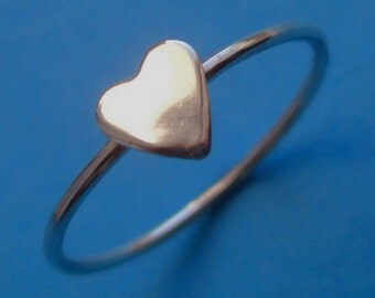 Tiny Sterling Silver Heart Stacking Ring