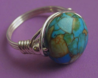 Sterling Silver Wire Wrapped Mosaic Turquoise Ring