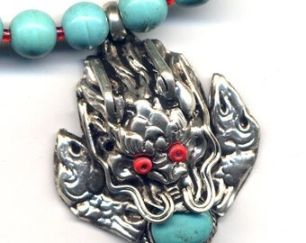 Nepal Dragon Necklace, Tibet Necklace, Magnesite Necklace, Dragon Necklace, Nepal Necklace, Nepal Jewelry by AnnaArt72