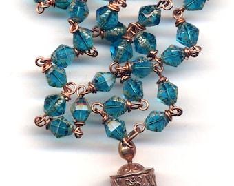 Tibetan Prayer Wheel Necklace, Nepal Prayer Wheel Pendant, Teal Ethnic Necklace, Nepal Jewelry by AnnaArt72