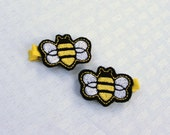 Buzzy Bee Clippie, one Bumble Bee Themed Barrette, Yellow and Black Hair Clip