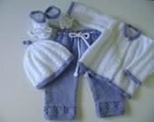 Knitted Newborn Girl  Set.  Newborn  Outfit.  Baby Girls  Suit.   Newborn  Ensemble. 0 to 3 Months