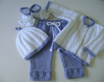 Baby Girl Set, Lilac White Set,  Knitted Baby Set, Take Home SuGift, Four Pces Suit, Newborn Outfit, Newborn Girl Set.