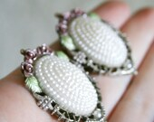 Rose Leaf And Pearl Silver Clip On Earrings