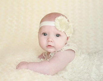 Set Petti Lace Ruffled Romper and Shbby Rose Headband S, M, or L Great Photography prop