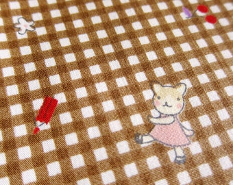 FREE SHIPPING Animal Cotton Fabric - Rabbits and Cats on Gingham Brown (F067) Fat Quarter