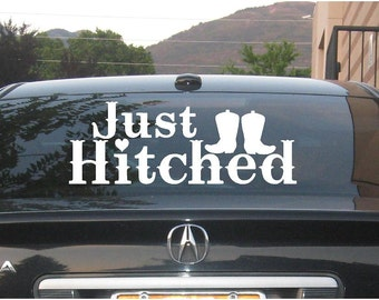 Just Hitched marriage vinyl decal