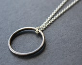 Oxidised ring necklace. Sterling silver. Handmade. Contemporary design.