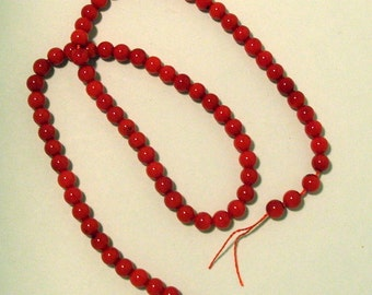 One Full Strand of 6 mm Red Corral Gemstones (54)