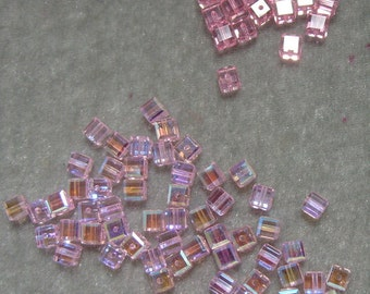 Absolute Closeout on 4mm Swarovski Crystal 74 Pieces Rose AB and Rose (902)