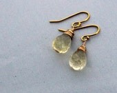 citrine gold earrings / yellow citrine teardrop earrings / simple jewelry / everyday earrings / november earrings