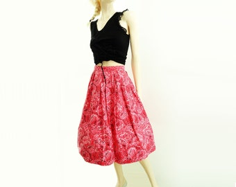 50s Paisley Skirt, Vintage Red Skirt, 50s Pleated Skirt, Pink Red Paisley, 50s Full Skirt, Pleated Red Skirt, xs