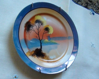 1920s Early Chikaramachi Noritake Hand Painted Lustre Ware Plate Wall DEcor  On SaLe Now