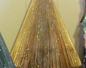 Handmade Tabletop Gold Tree on Pine Trunk, with Glass Glitter, 12-1/2 x 9 Upcycled Magazines