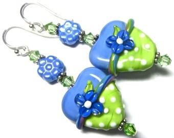 Blue Green Heart Earrings, Lampwork Earrings, Glass Earrings, Blue and Green Earrings, Flower Earrings, Handmade Earrings, Handmade Jewelry