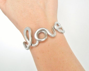Hand Hammered Love Wire Work Bracelet - Cuff - Choose Your Color