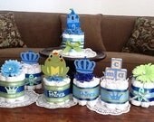 cusotm bundt cakeLittle Prince Baby Shower Diaper Cakes Centerpieces other colors and sizes too