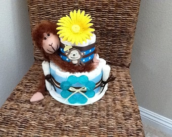Jungle Monkey Safari Theme Diaper Cake Baby Shower Centerpiece Safari two tier other colors and sizes too