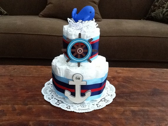 Whale Themed Diaper Cake Baby Shower Centerpiece or gift Sailboats, lighthouses other sizes and colors too
