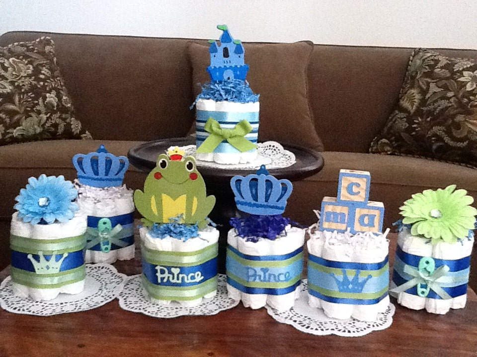 Cake Centerpieces For Baby Shower : Little Prince Baby Shower Diaper Cakes by ...