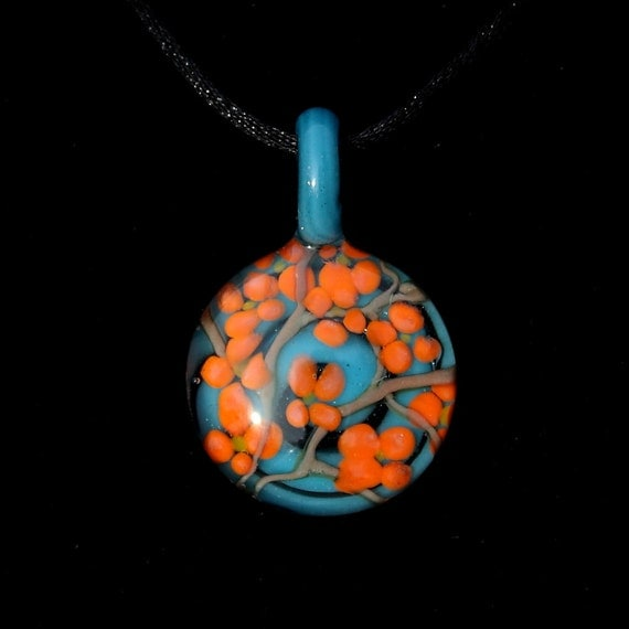 Tree Branch in Bloom and Aqua/ Teal Blue, Flame worked glass pendant
