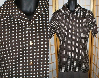 vintage 70s brown polka dot mens shirt by Richman Brothers mens size medium