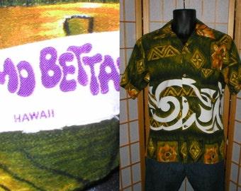 Vintage 60s cotton bark cloth Hawaiian tiki print shirt mens size medium