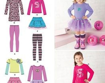 GIRL CLOTHES PATTERN / Make Boutique Style Skirt - Dress -Leggings - T-shirt / Sizes 1/2 to 4 Or 6 To 8