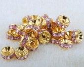 Vintage 10 Gold Plated Pink  Crystal 8mm Spacer Beads GR8