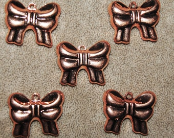 Vintage 6 Copper Coated Puffy Bow Pendants AR2