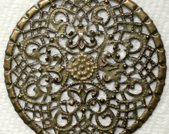 Vintage 4 Victorian Filigree Disc 40mm Round Antique Gold Very Unique Stampings  AL1
