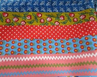 Vintage Fabric Bright Kawaii Prints in Bold Stripes