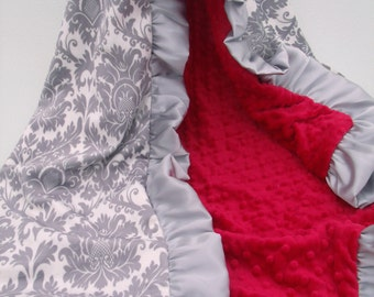 Gray Damask and Red Minky Dot Blanket.....more colors available