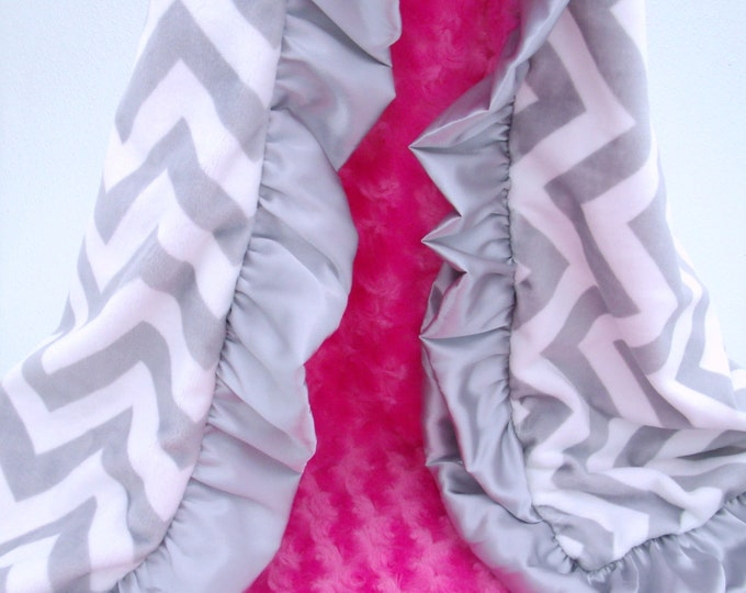 Gray Chevron and Fuchsia Minky Blanket