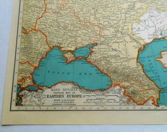 Eastern Europe map from a 1938 Vintage Atlas, Soviet Union, Russia, wall decor map
