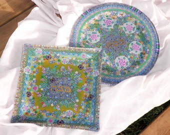 Seder - Passover Flowery vernal Decotated Matza Plate - Made for order