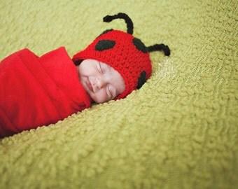 Ladybug crochet baby beanie