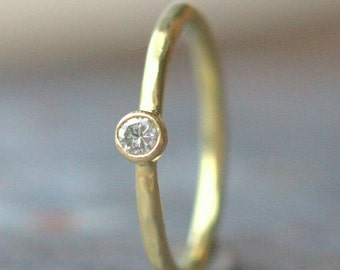 18k Gold Diamond Engagement Ring - Dainty Diamond Ring - Eco Friendly Diamond Ring