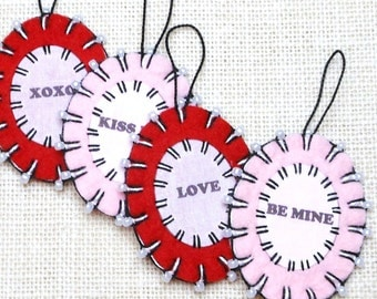Wool Felt Valentine Word Ornaments with Beading - Set of 4
