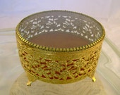 Vintage Retro 1960s Glass Topped Ormolu Rose Patterned Filigree Jewelry or Trinket Box in Great Condition