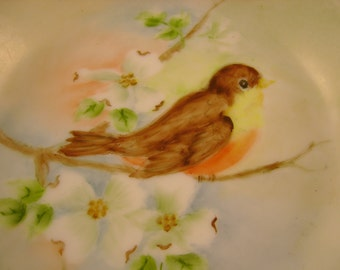 Retro 1969 Hand Painted Robin Bird Porcelain Ashtray or Trinket Dish Signed by Frances Lucy