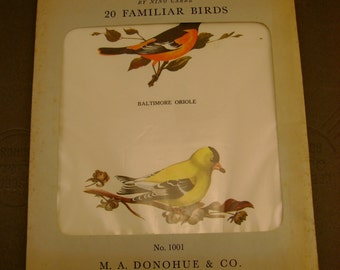 Vintage 20 Familiar Birds, Eight Litho Prints by Nino Carbe, Published by M.A. Donohue, dated 1959